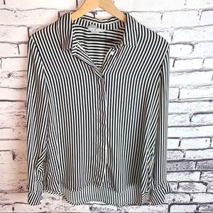 H&M Silky Striped Button Up Blouse